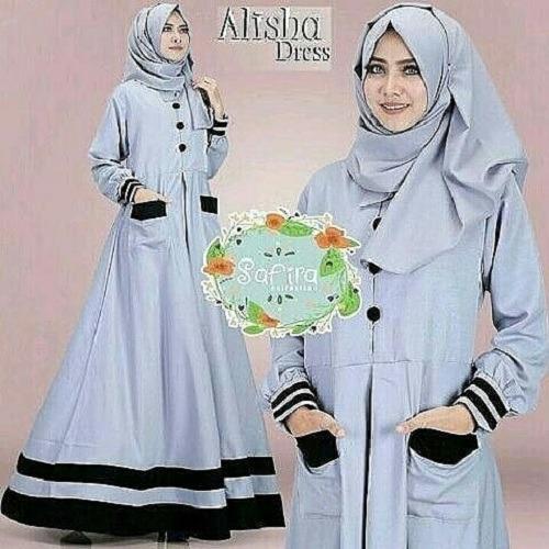 Hemat Baju Muslim Original Gamis Alisha Dress Baju Panjang Muslim