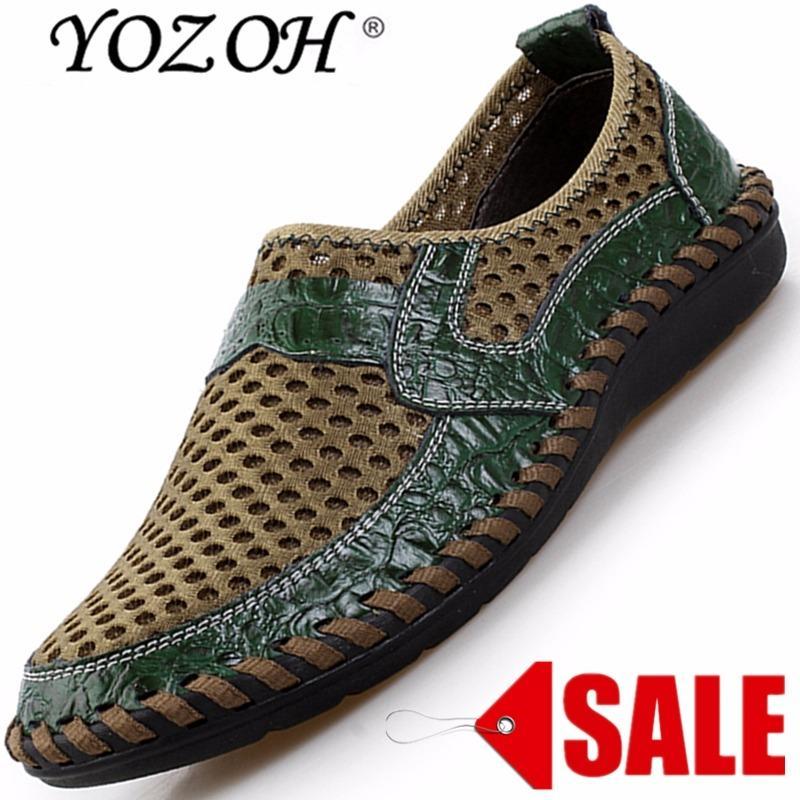Dapatkan Segera Yozoh Musim Panas Bernapas Mesh Sepatu Sepatu Kasual Pria Kulit Asli Slip On Brand Fashion Sepatu Musim Panas Pria Lembut Nyaman Dengan Harga Yang Murah Namun Bersaing Hijau Intl