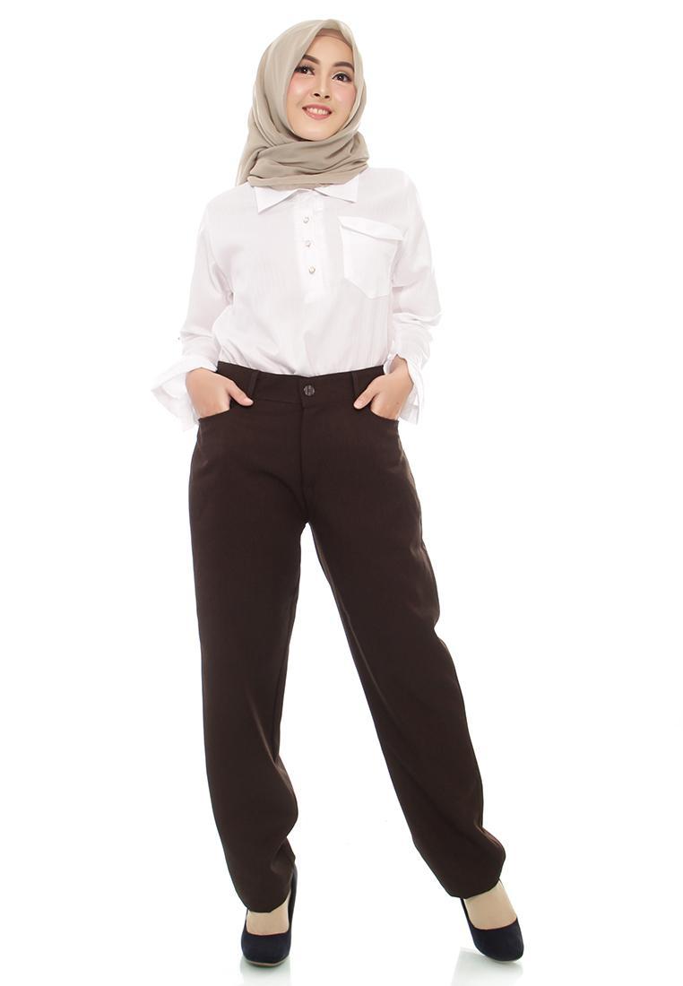 Fitur Celana Kerja Wanita Bahan Formal Pinggang Kancing Karet Jumbo Sleting Tebal 2