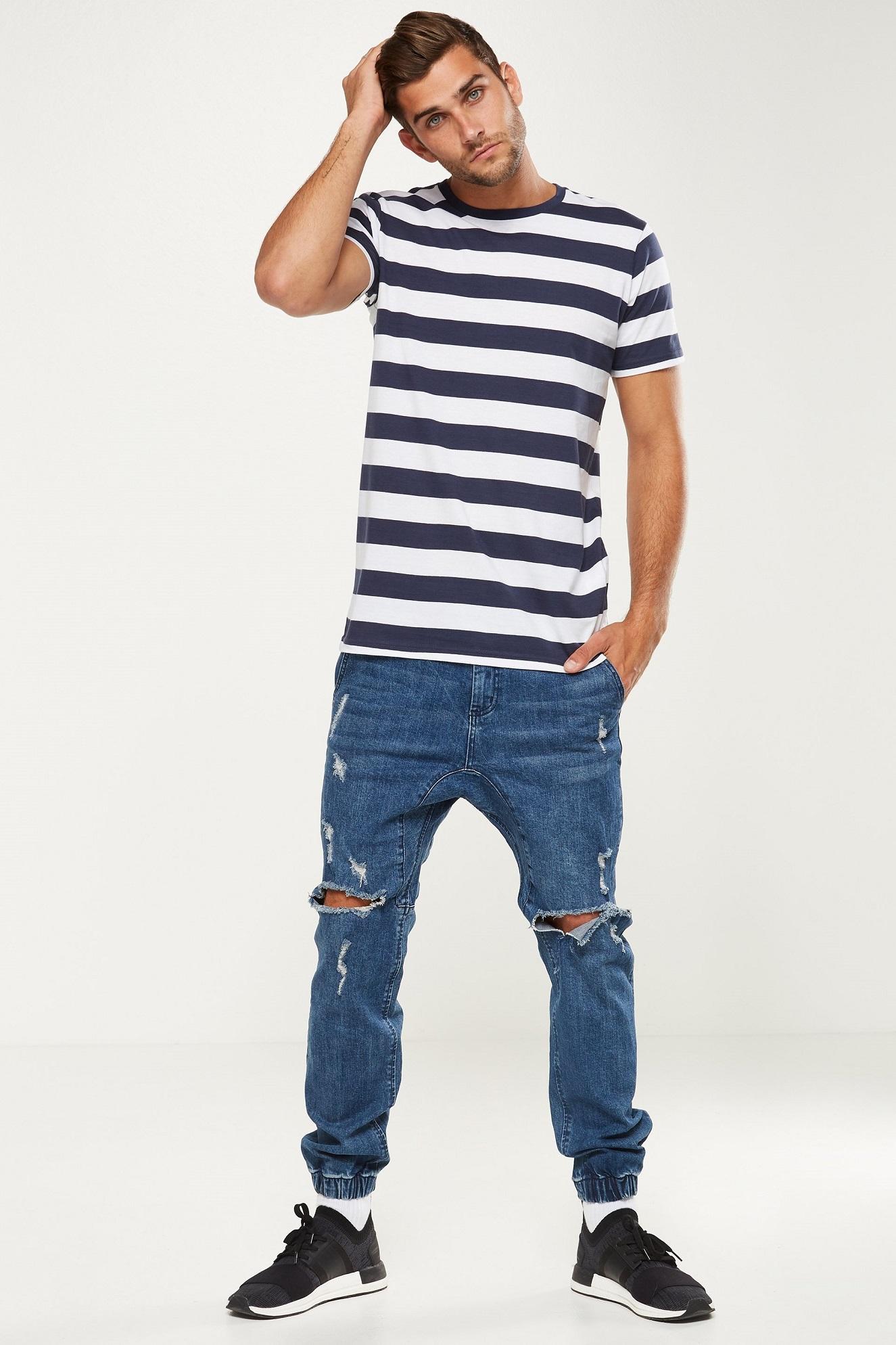 Fitur Kaos Big Stripe Navy White Besar Putih Dan Polos Black 3