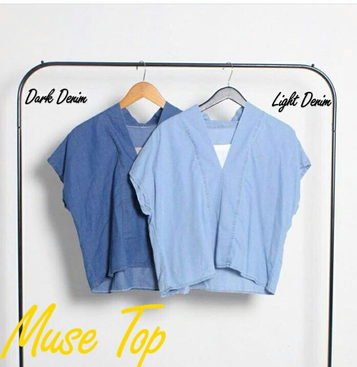 J&C Blouse Muse Top / Blouse Denim / Casual Blouse / Blouse Kasual / Atasan Denim
