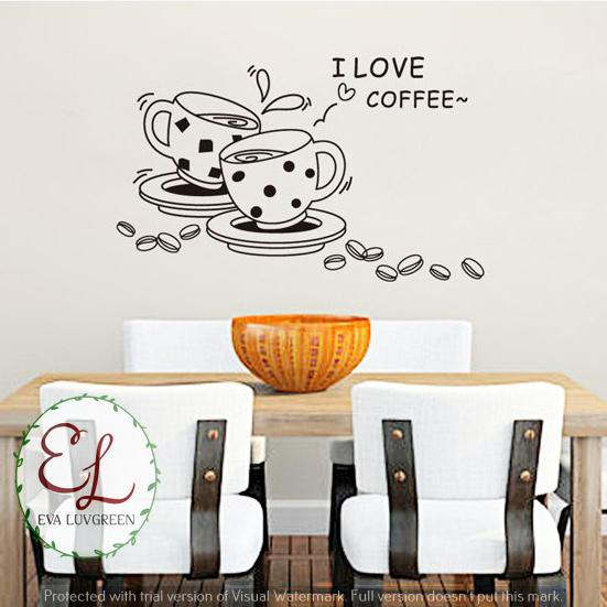 ... Luvgreen Wallsticker Siluet Coffee Couple Love/ Cangkir Kopi Hiasan Cafe/ Kafe Ukuran 50x70cm/ Stiker Dinding/ Stiker Tembok/ Wallpaper Sticker/ Wall ...