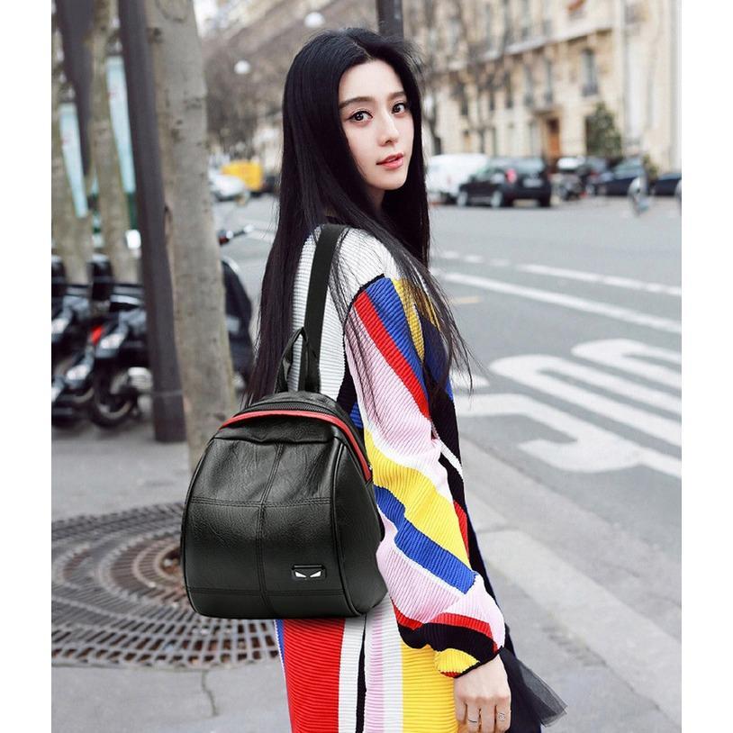 Backpack FENDI GUCCI hitam - Tas ransel wanita kulit impor murah TFM20 - Hitam