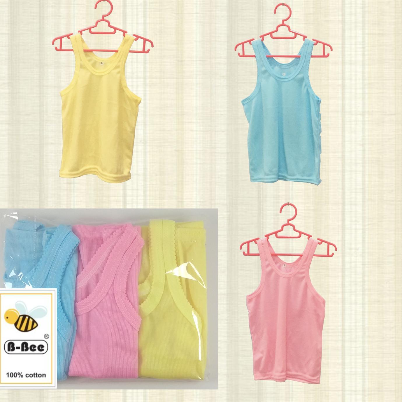 Baju Singlet Oblong Bayi Baby New Born B-Bee Cotton  Isi 6 Pcs