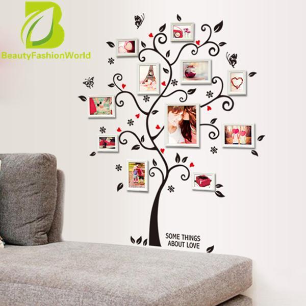 Chic Hitam Keluarga Bingkai Foto Mural Pohon Dinding Stiker Dekorasi Rumah Stiker -