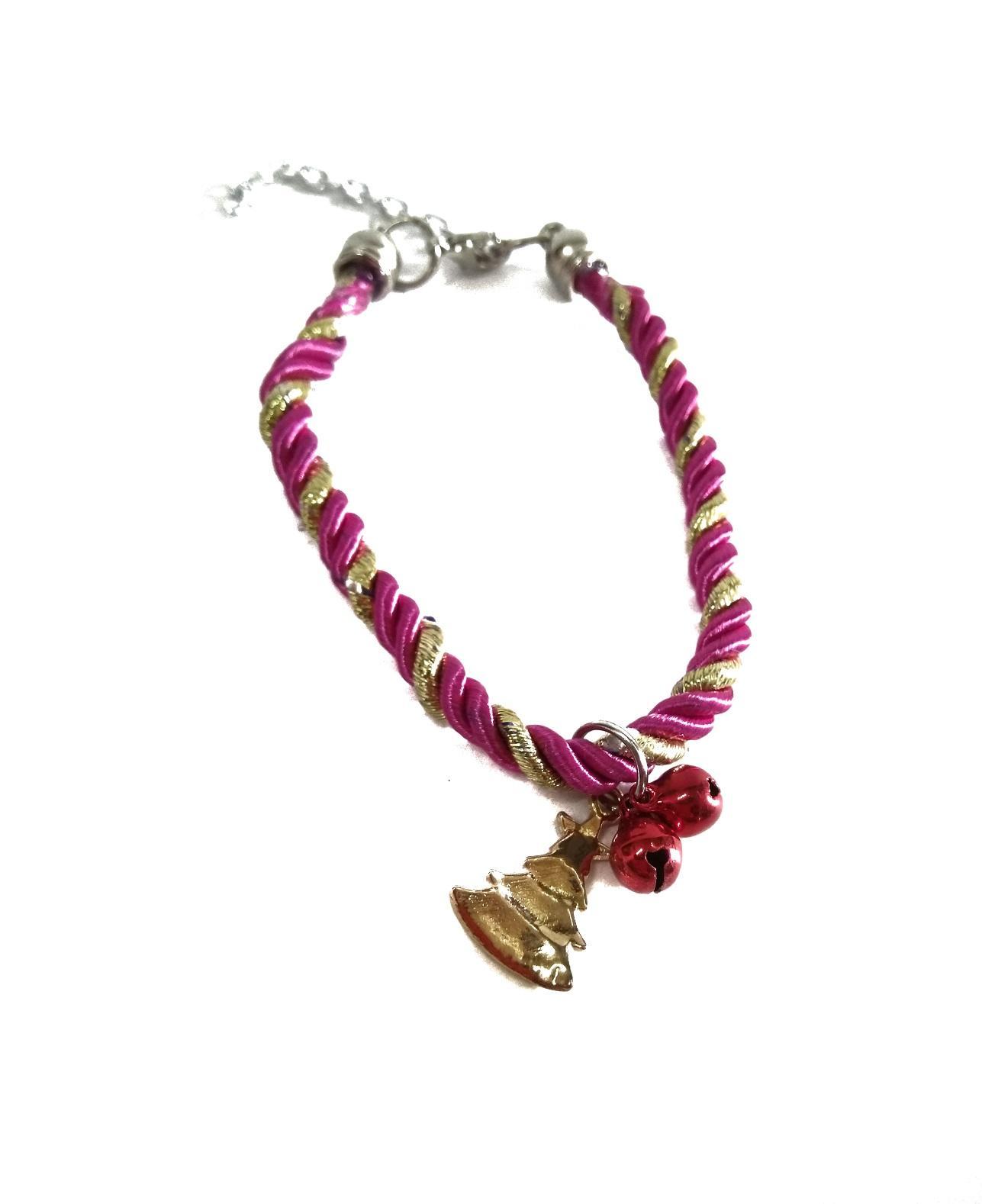 Kalung Anjing Kucing Tali kepang dengan dua kerincing kecil