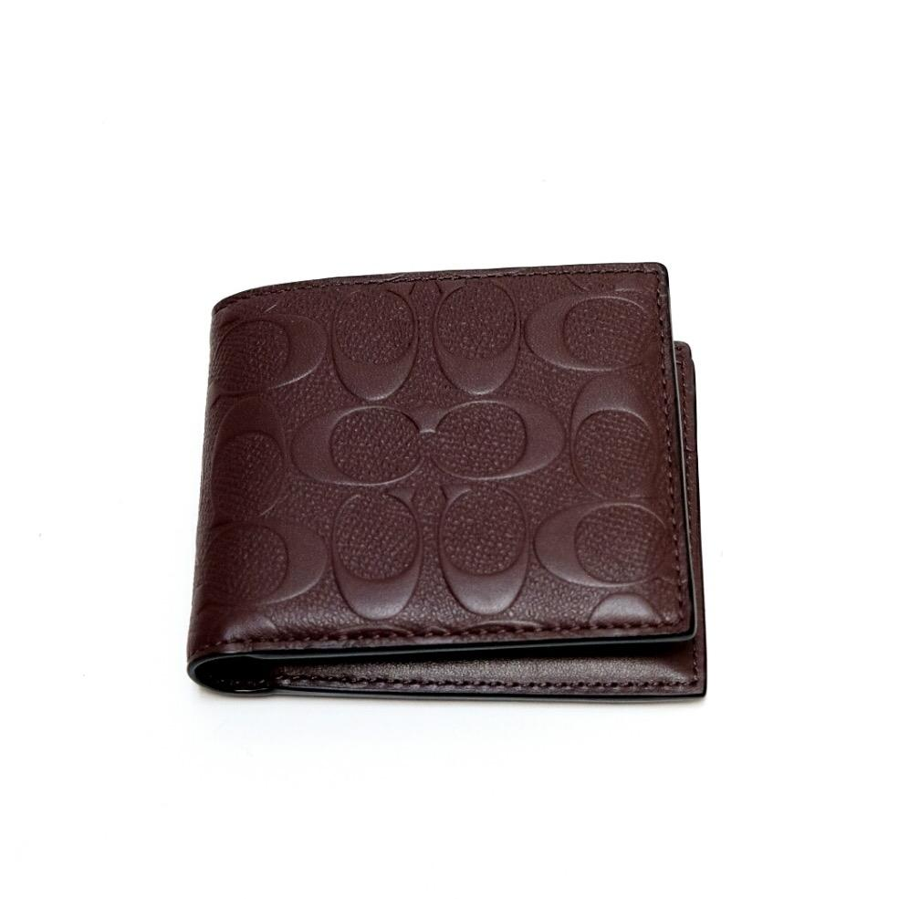 Coach Man Compact ID Embossed Leather Wallet