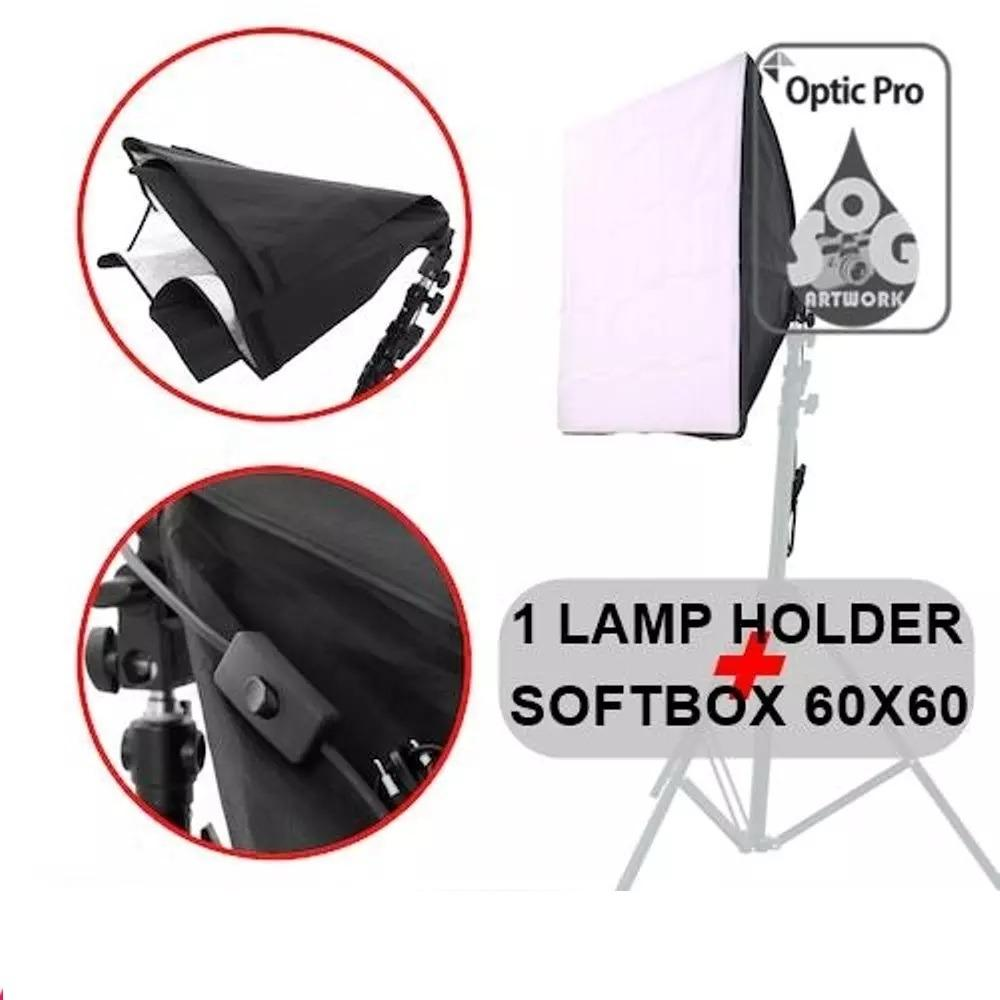 Lamp Holder E27 With Softbox 60 X 60 Cm - Lampu Studio Such As Godox Starlite Tronic Neewer Phottix