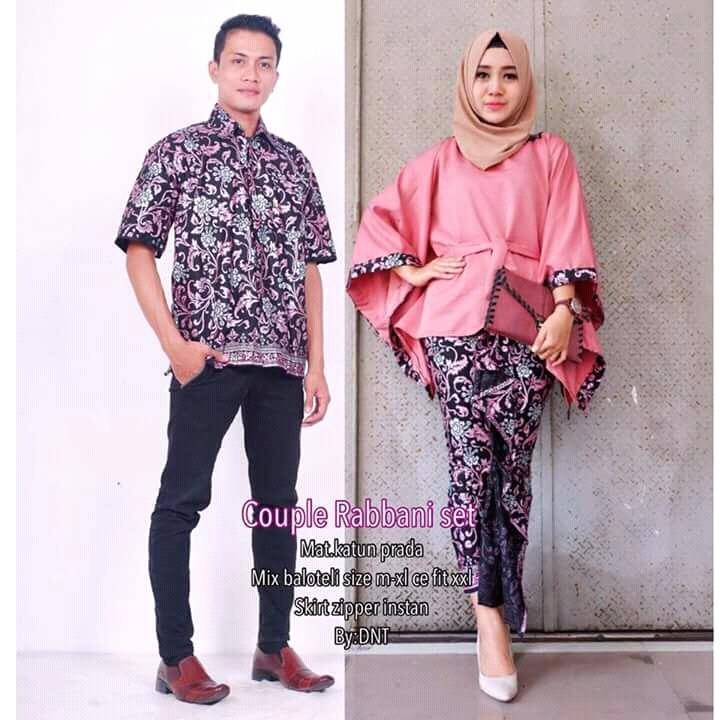 Batik Sarimbit / Batik Pesta / Batik Couple / Batik Resepsi Rabbani Set - Pink - TB Store
