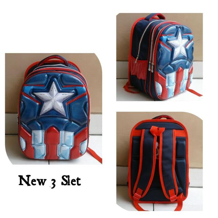 Spesifikasi Onlan Tas Ransel Anak Sekolah Sd Import Motif Avengers Super Hero 6D Timbul Soft Hard Cover Biru Online