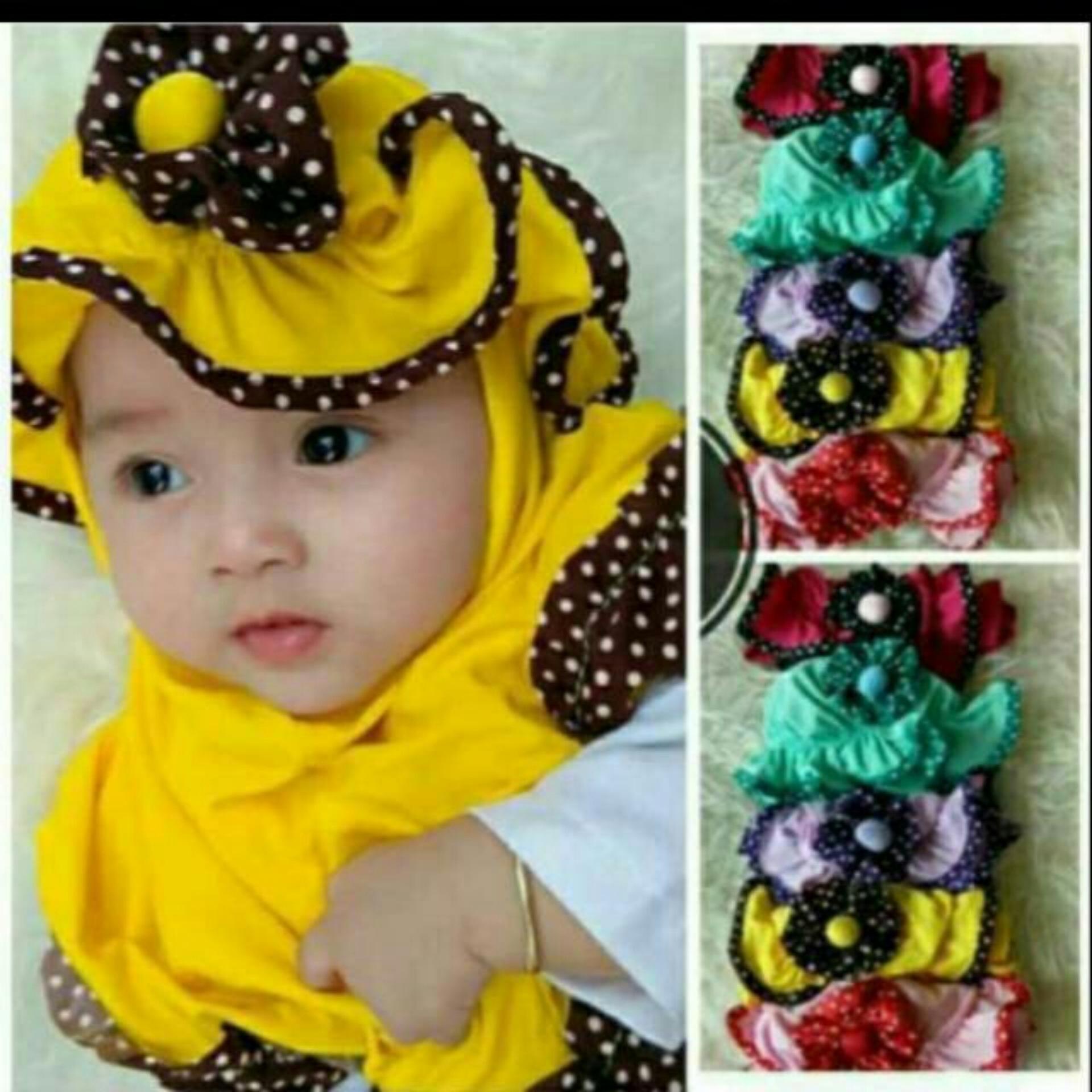 Fitur Kerudung Anak Bayi Topi Polka Mawar Polos Jilbab Anak Bayi