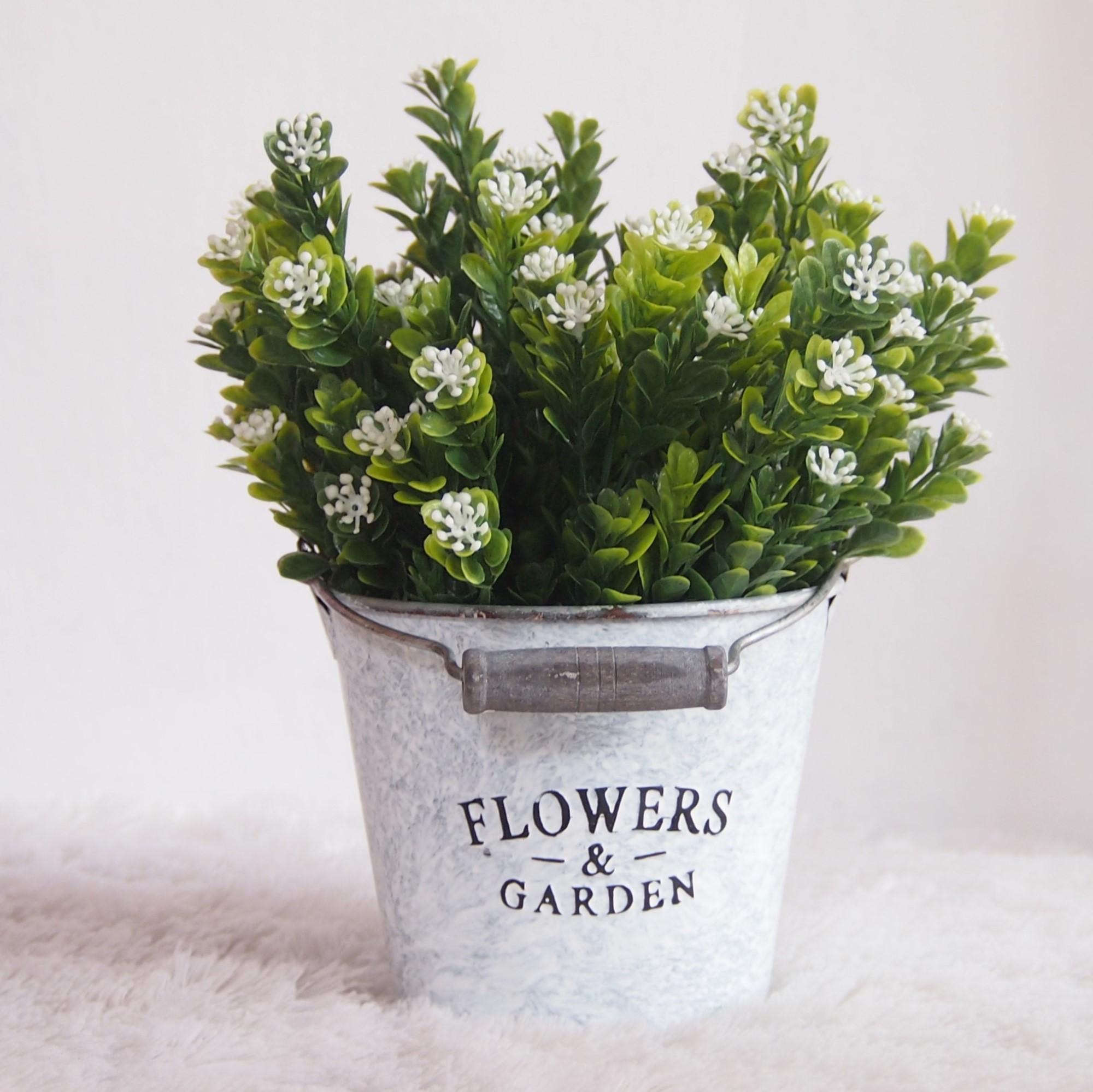 Bunga Hiasan Meja Dan Rumah - Bunga Pajangan Artifisial - Bunga Pucuk Putih Pot Kaleng TPK002