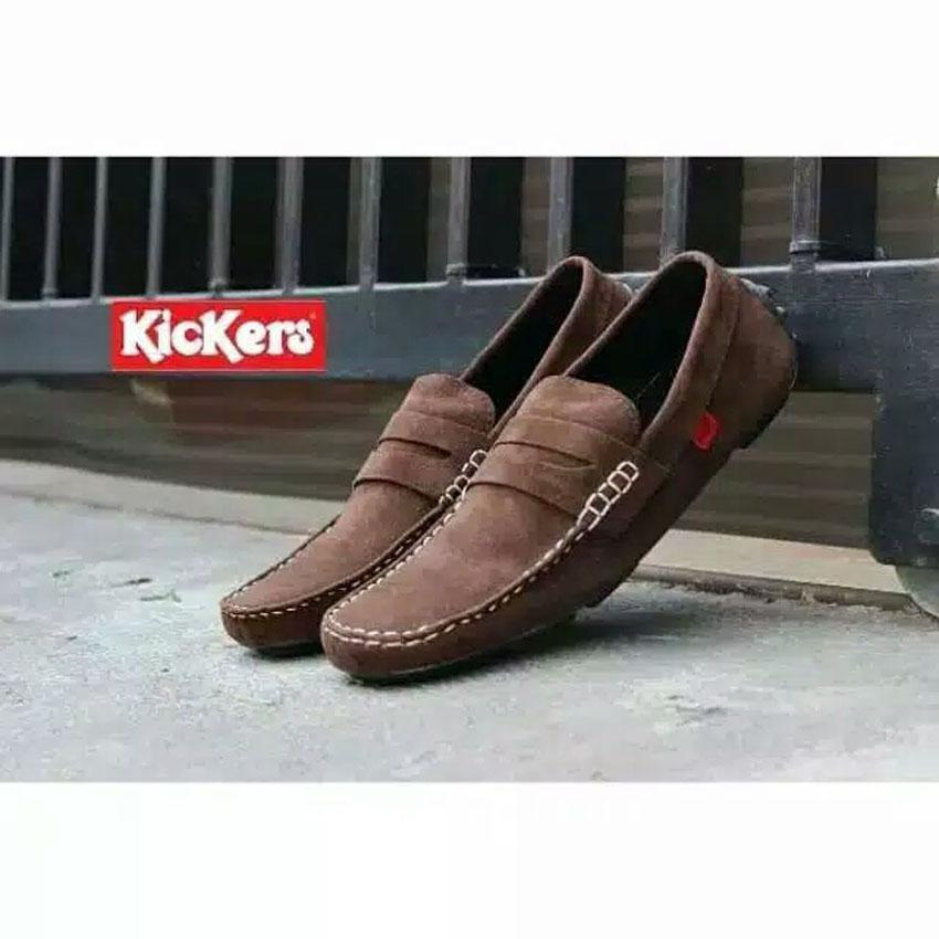 Sepatu Casual Slip On Kickers Suede Leather Brown