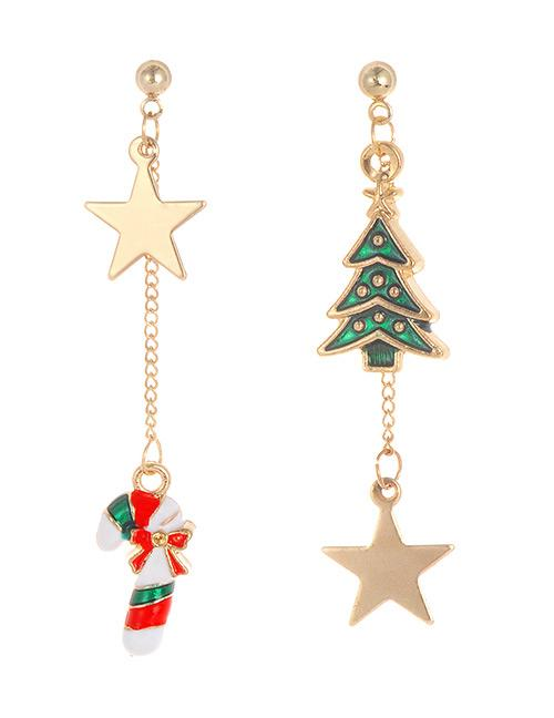 LRC Anting Tusuk Fashion Gold Color+green Star&tree Shape Decorated Earrings