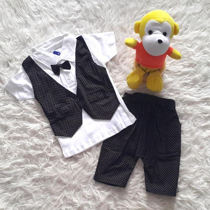 Baju Pesta Kondangan Anak Bayi Laki Tuxedo Rompi Nempel Wajik / baju pesta anak laki-