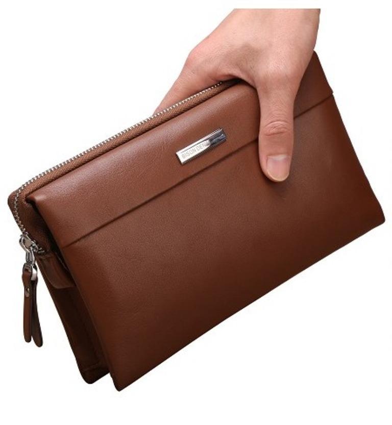 Bison Denim-Handbag Pria Kulit Sapi Asli   Clutch Bag Mewah (BISON N8009- be14592f57