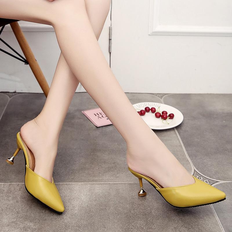Korea Fashion Style Musim Semi Perempuan Hak Tipis Sandal Sepatu Heels (Model Wanita + Kuning