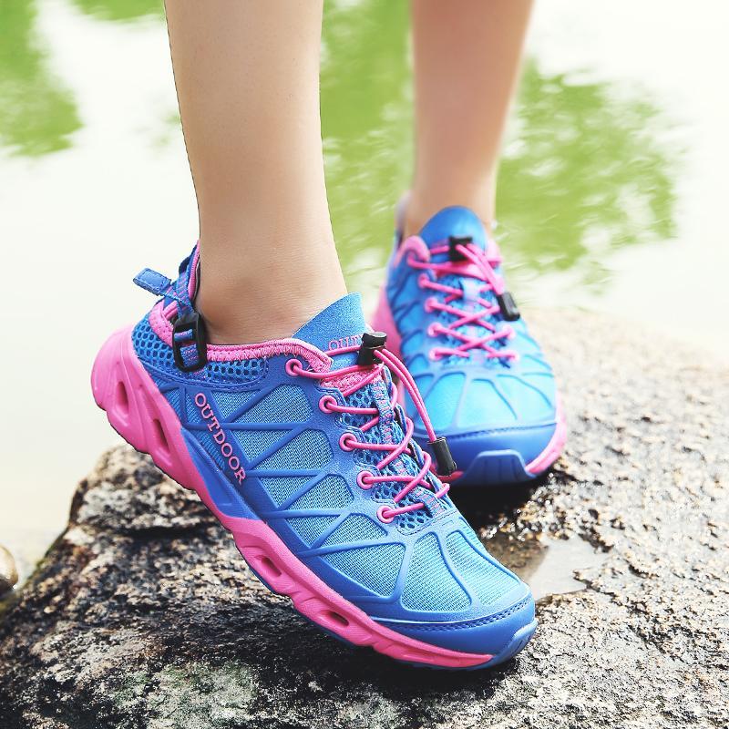 ... ORNGMALL Wanita Sepatu Air Cepat Kering Sepatu Luar Hulu Sepatu Trekking Bernapas Sepatu Hiking Sepatu Jala