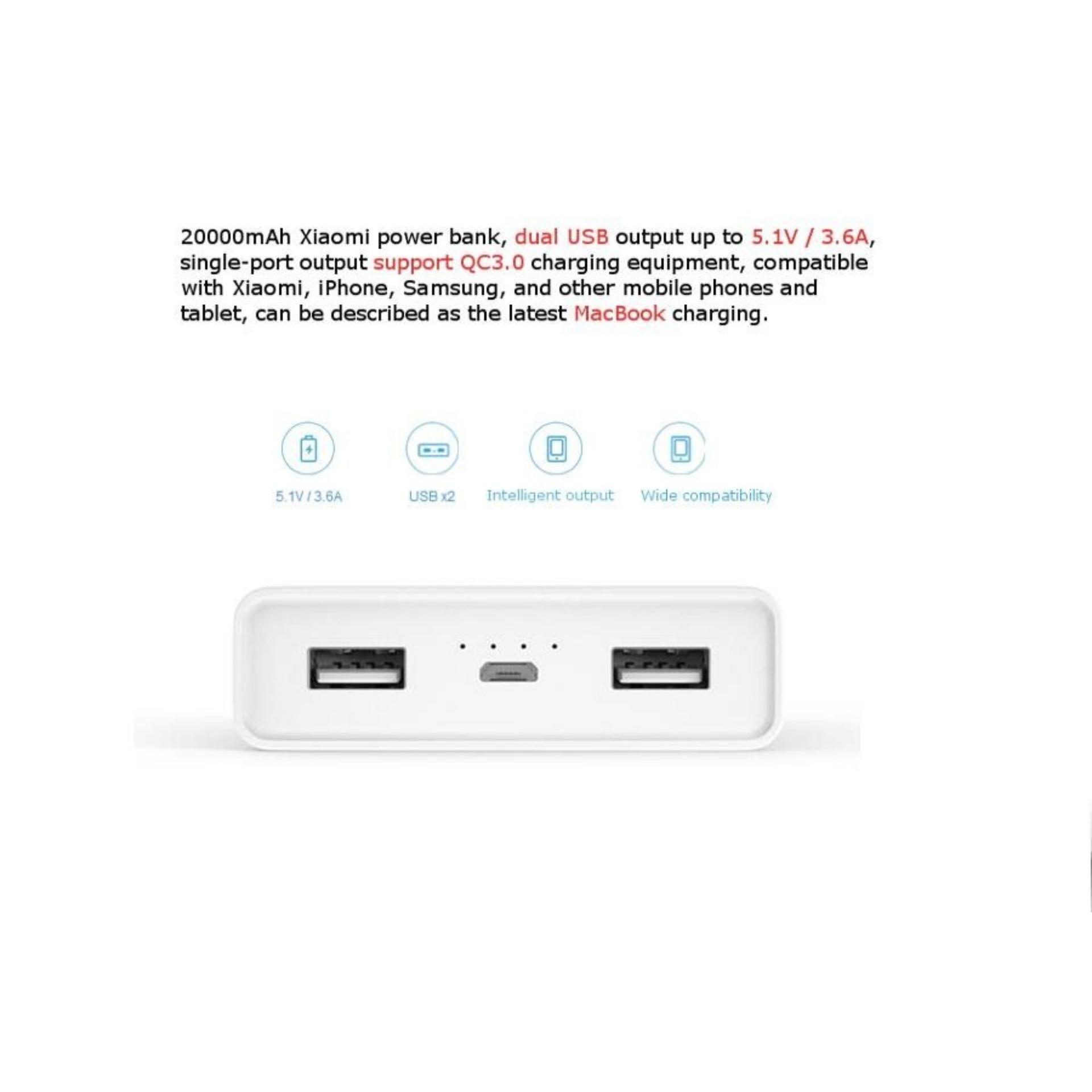 Fitur Xiaomi Power Bank 20 000mah Original Dual Port Usb Dan Harga Remax Car Charger 3 36a Detail Gambar 20000mah Terbaru