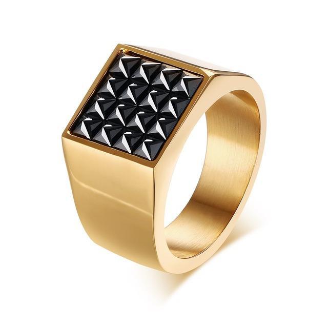 Spesifikasi Mode Perhiasan Emas Berlapis Stainless Steel Square Hitam Cz Kubik Zirkonia Mengaspal Signet Cincin For Pria Terbaru