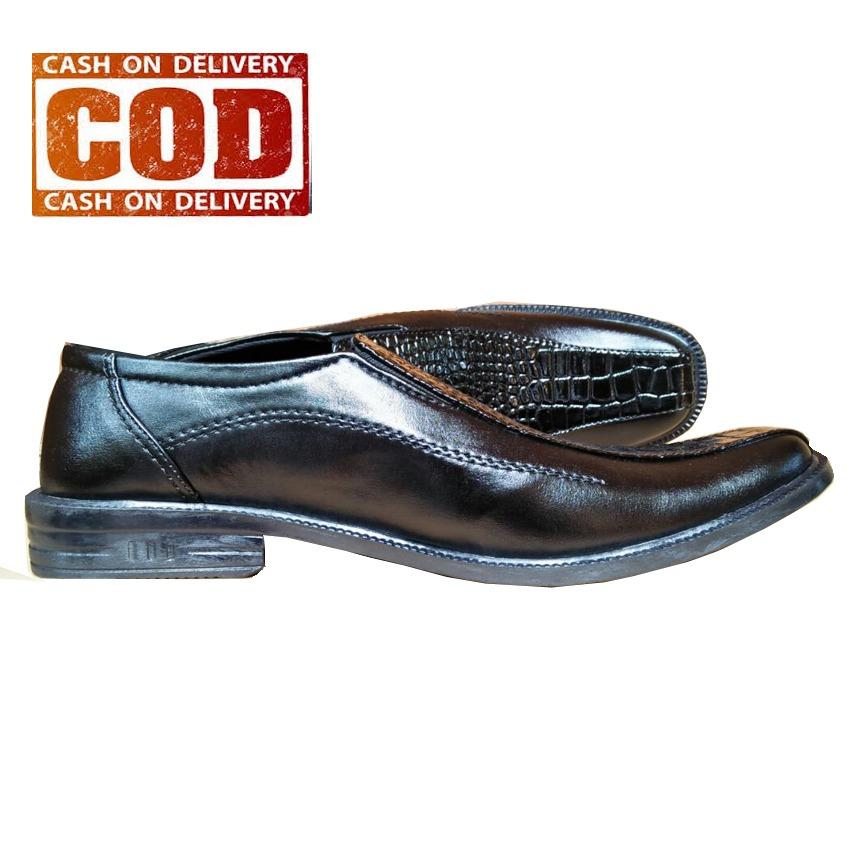 AchmadStore,Sepatu Kulit Pria Pantofel Formal Kerja Kantor Kombinasi Kulit Buaya - Hitam