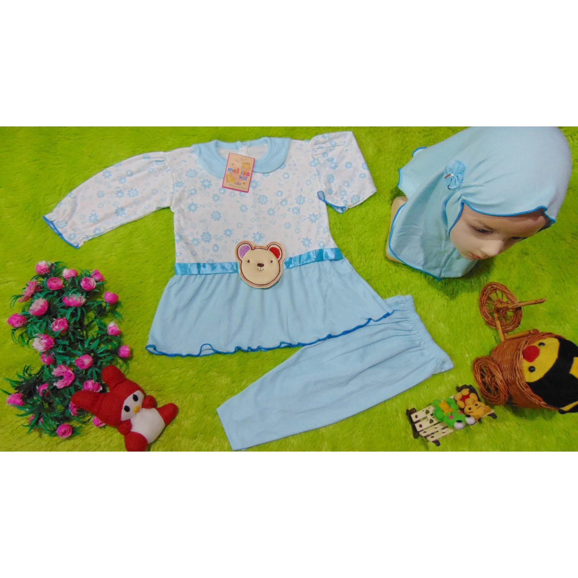kembarshop - PLUS HIJAB setelan baju muslim anak gamis bayi 0-12bulan biru motif random