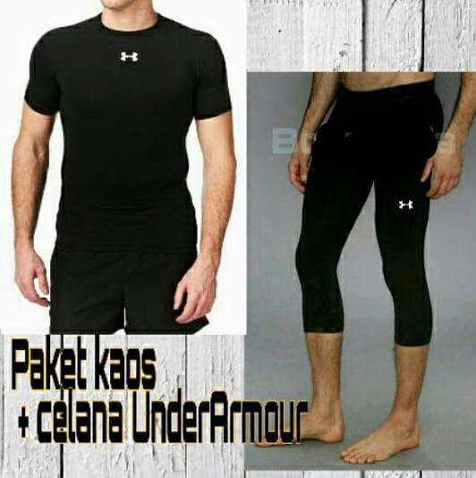 Setelan baselayer Baju dan celana 3/4 Gym renang olahraga Diving Yoga