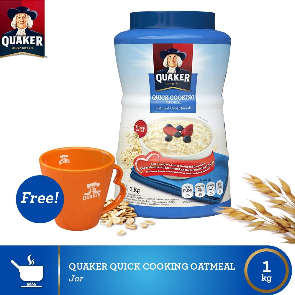 Jual Buy 1 Free Mug Quaker Quick Cooking Oatmeal Jar Baru