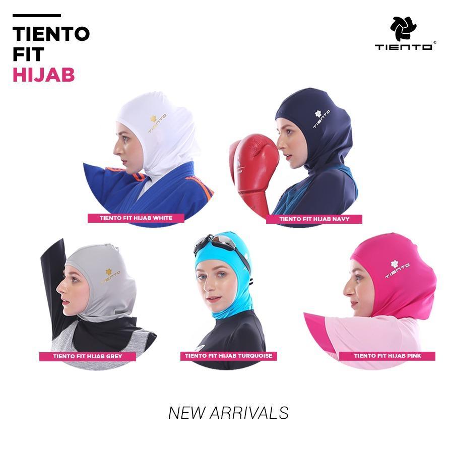 Tiento Fit Hijab Sport Jilbab Instant Kerudung Olahraga Renang Tinju Zumba Fitness Yoga Senam Lari Futsal Running Taekwondo Bola Voli Basket Original
