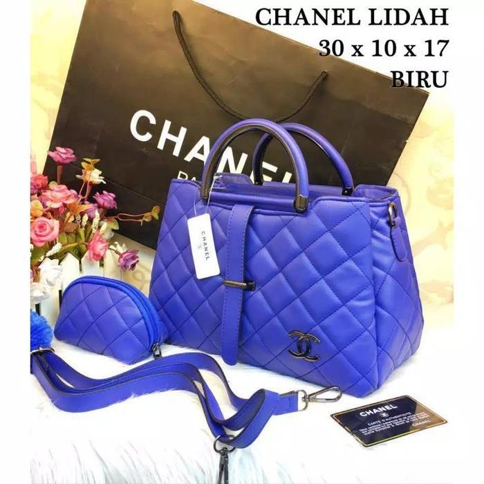 Tas Hand Bag Branded Wanita Cantik Berkelas  CHANEL LIDAH SUPER BEST SELLER!!! - Hitam