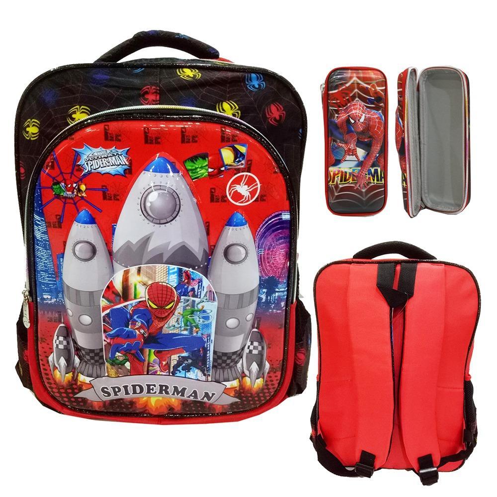 Promo Toko Onlan Spiderman 6D Timbul Anti Gores Tas Ransel Anak Kantung Besar Import Dan Kotak Pensil Red