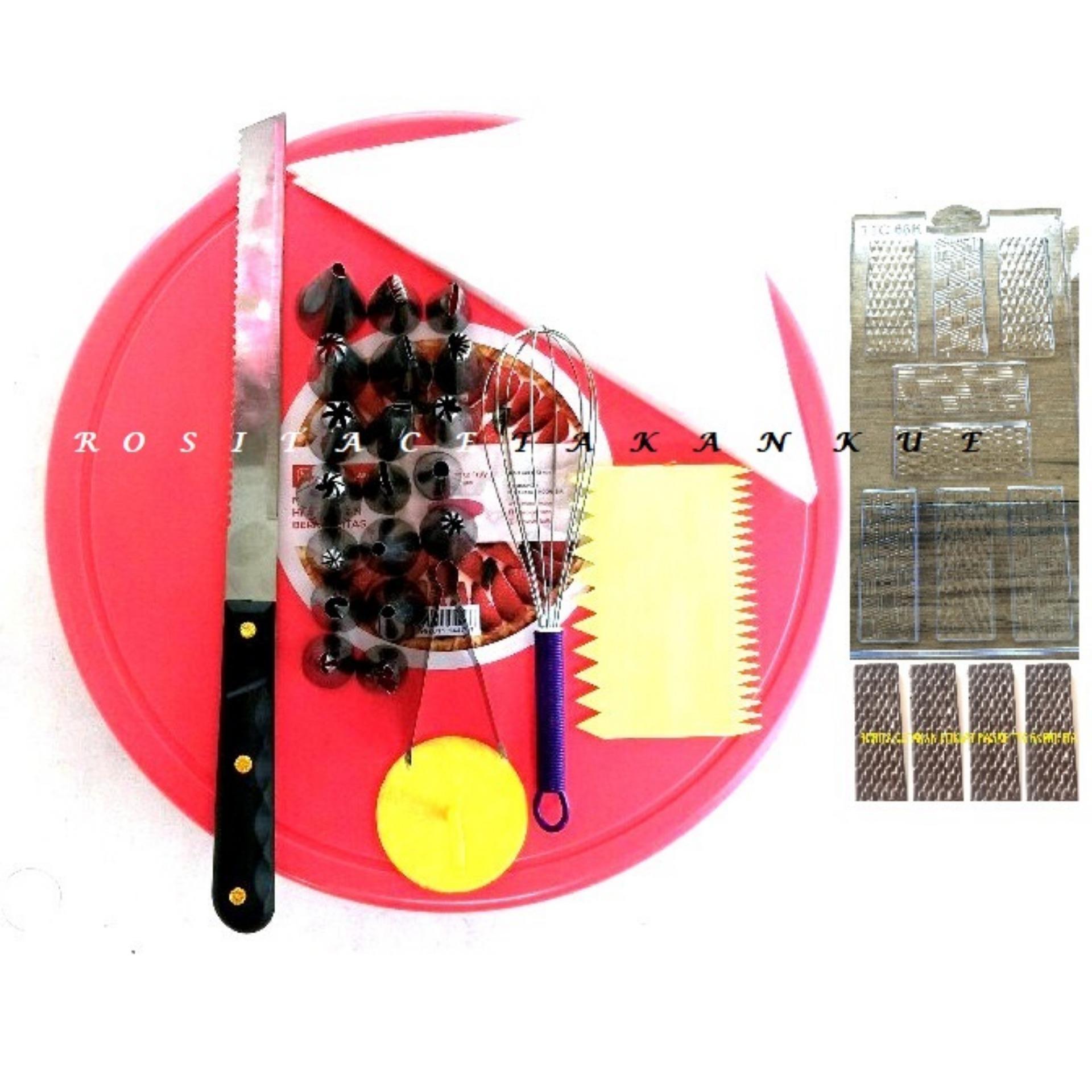 Spesifikasi Rosita Set Alat Hias Kue Meja Putar Spuit Set Whisker Scraper Cetakan Coklat Spatula Piping Bag Paku Payung Beserta Harganya