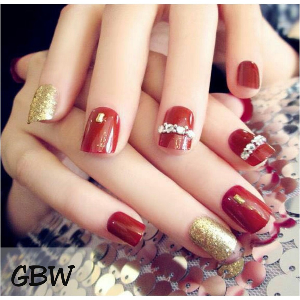 24 Buah French Nail Art Kuku Palsu Akrilik Tips Lengkap Merah Gelap Jbs Nails A61 3d Nikah Wedding False Fake Nailart Cek Harga Source