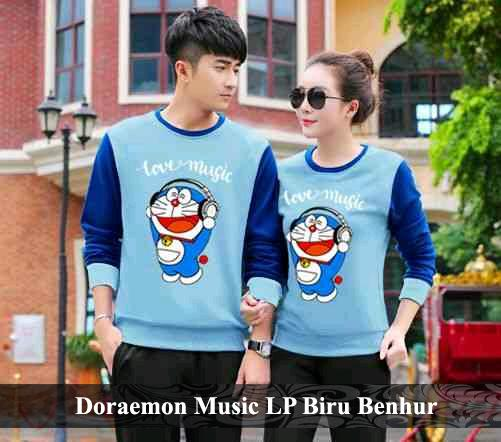 BajuCouple baju kaos couple pasangan tshirt couple murah terbaru Baju Couple Doraemon Music LP [Biru