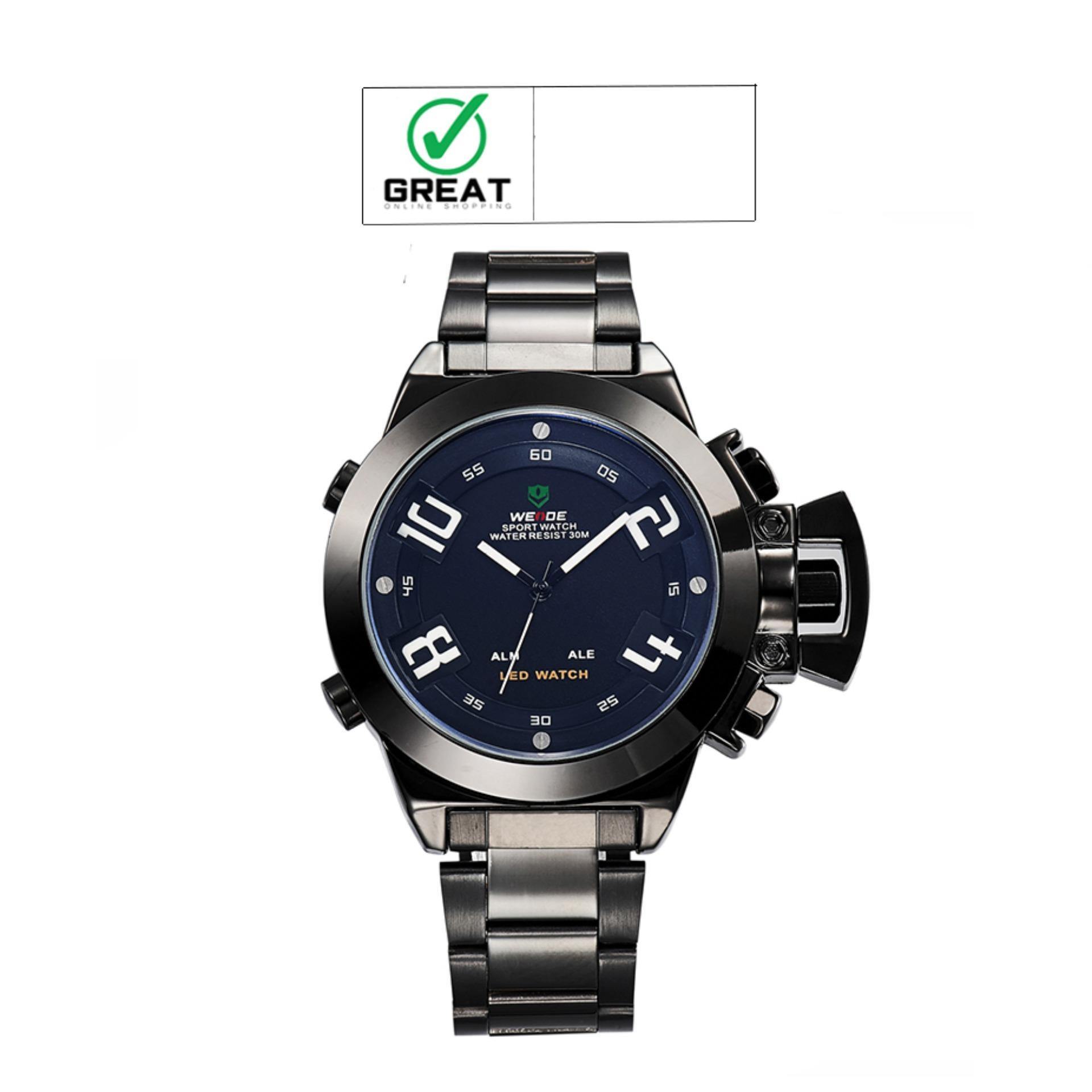 Ulasan Mengenai Weide Wh1008B Luxury Brand Men Military Sports Watches Men S Quartz Analog Digital 30M Water Resistance Universe Series Hitam