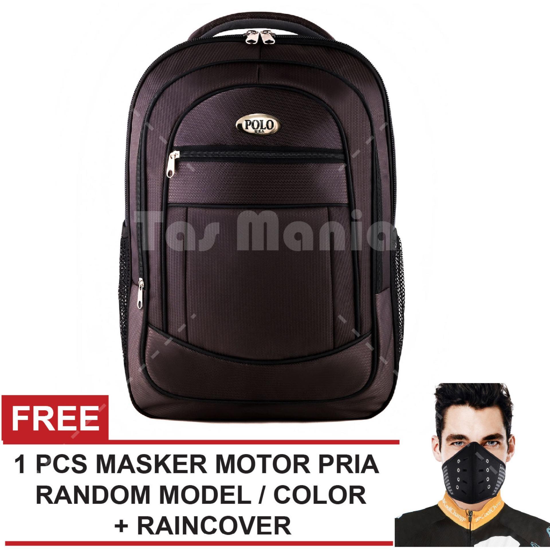 Tas Ransel Polo USA King Cobra Tas Laptop Backpack - Brown + Raincover + FREE Masker