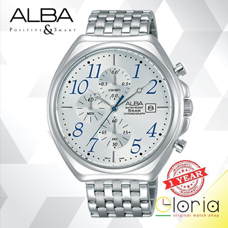 ALBA Chronograph AM347 Series Jam Tangan Pria Tali Stainless Steel Quartz