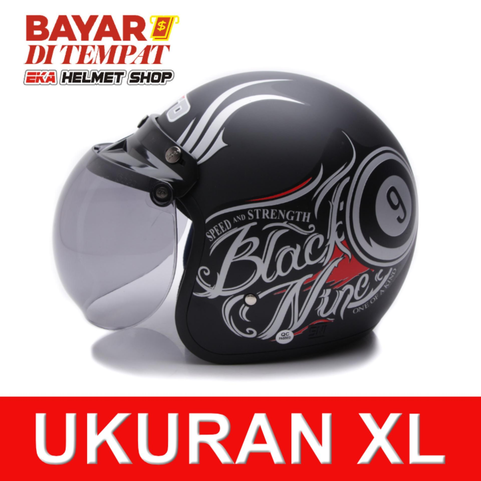 Jual Wto Helmet Retro Bogo Black Nine Hitam Doff