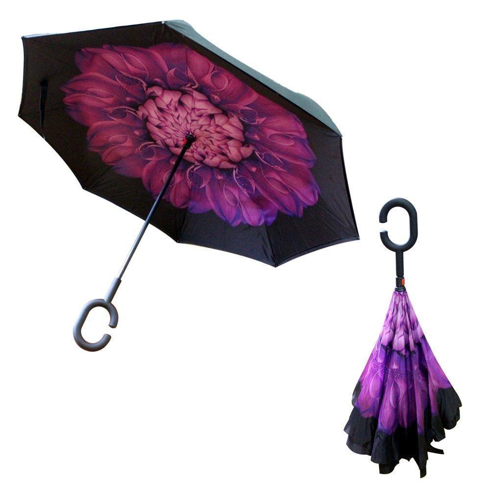 Spesifikasi Payung Kazbrella Terbalik Reverse Umbrella Gagang C Tombol Merah Online