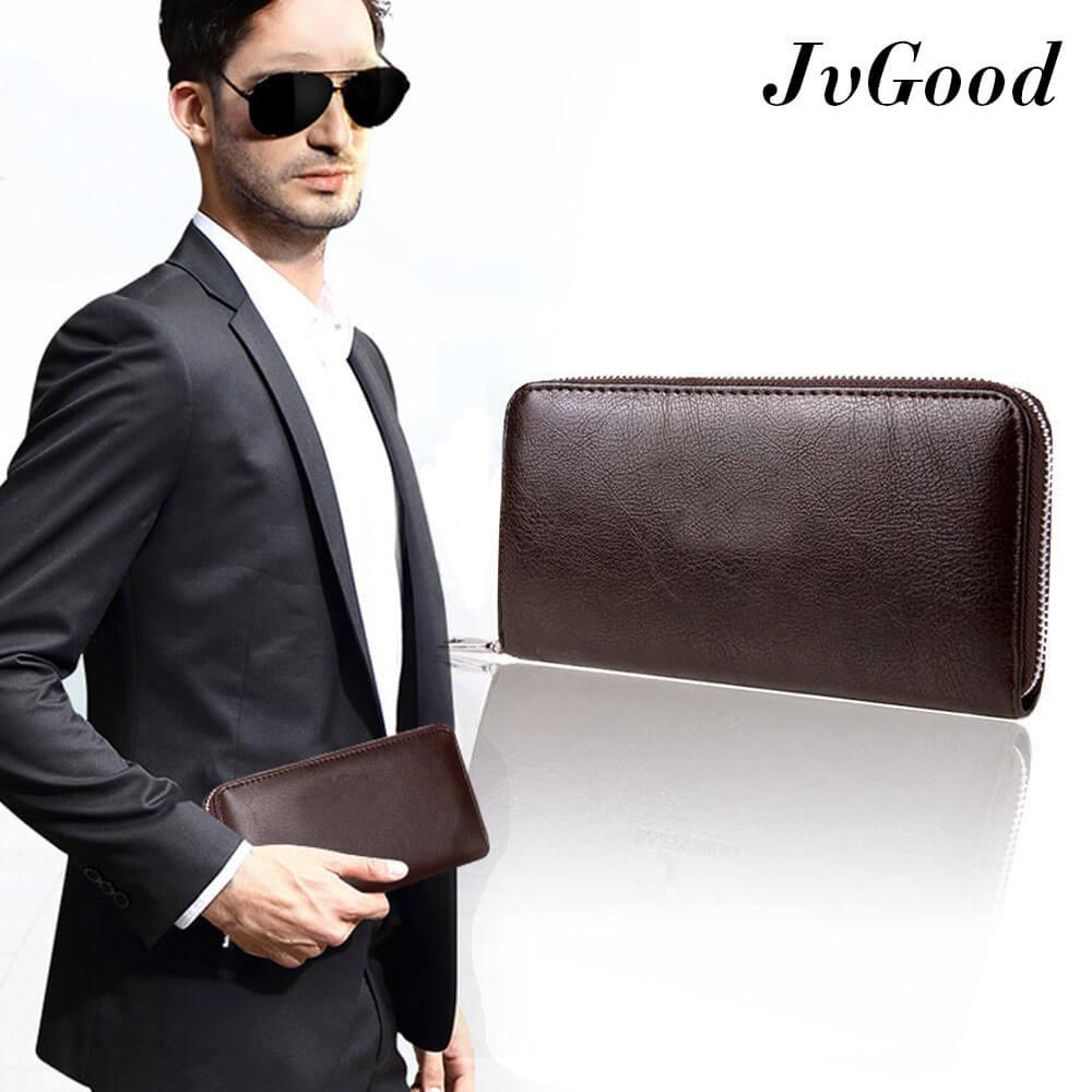 Jual Jvgood Dompet Pria Men Long Wallet Zipper Credit Cards Mobile Phone Holder Jvgood