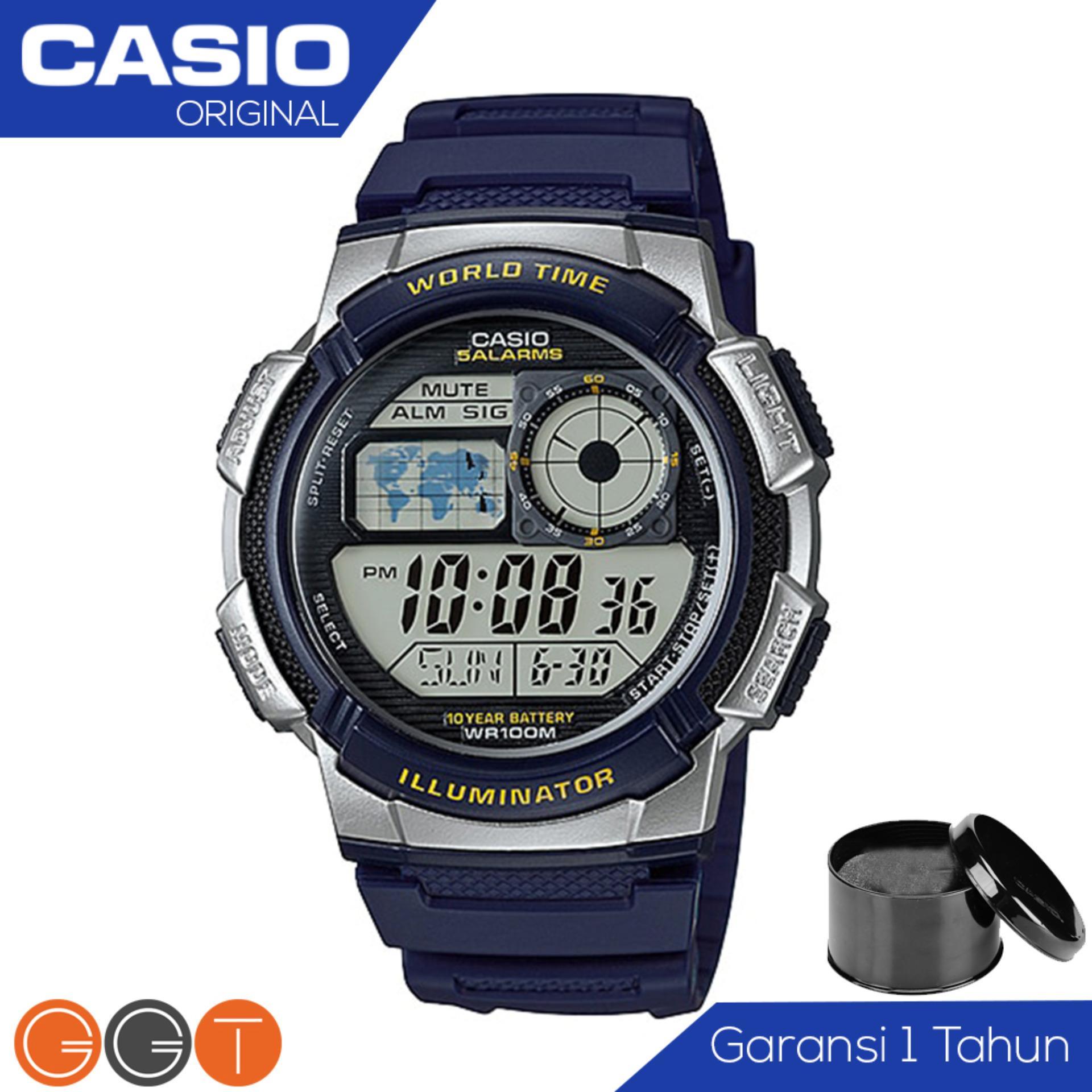 Harga Casio Illuminator Ae 1000W 2Avdf Jam Tangan Pria Tali Karet Digital Movement Biru Dan Spesifikasinya