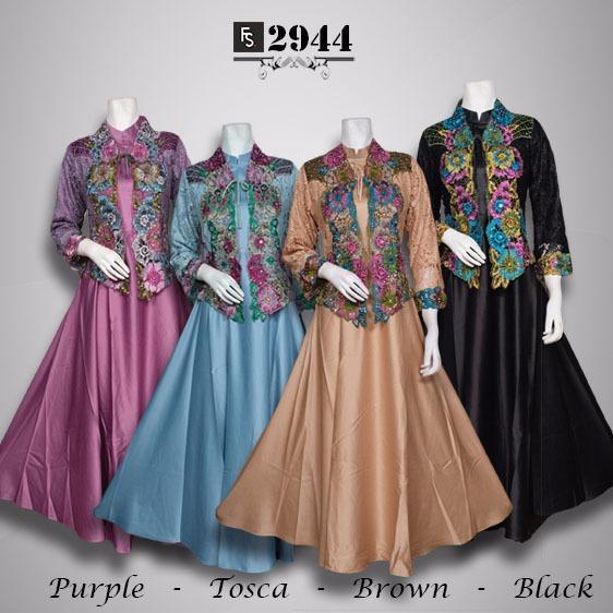 Toko Kirana Surabaya Gamis maxi dress baju gaun pesta busana muslim Cardigan Angelina 944