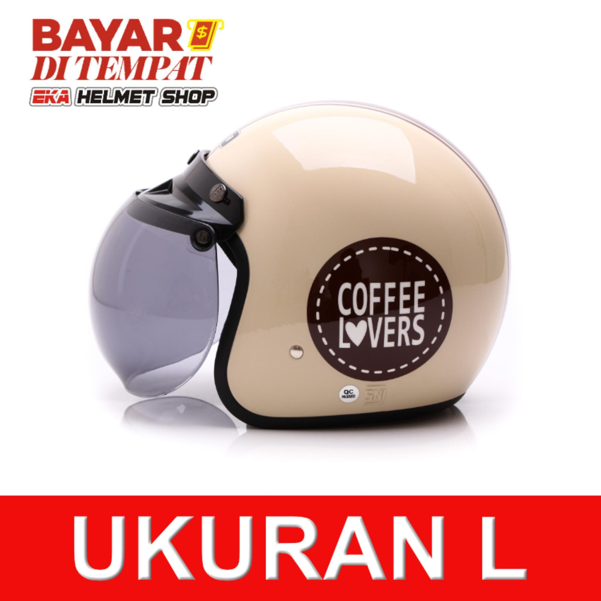 Jual Wto Helmet Retro Bogo Coffee Lovers Krem Wto Helmet Original