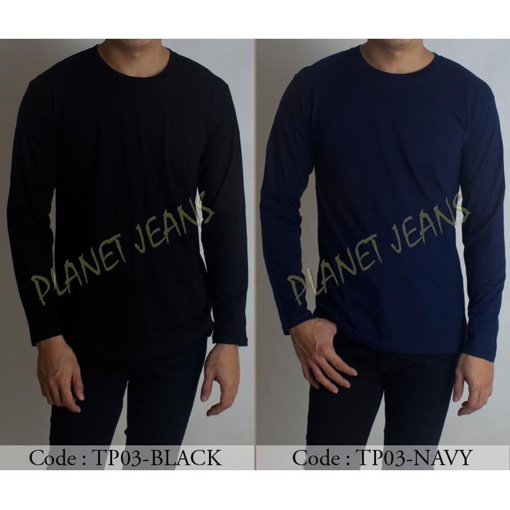 PROMO Baju Kaos Polos Lengan Panjang Pria Oneck / Baju Kaus Tangan Panjang Cowok Warna Hitam