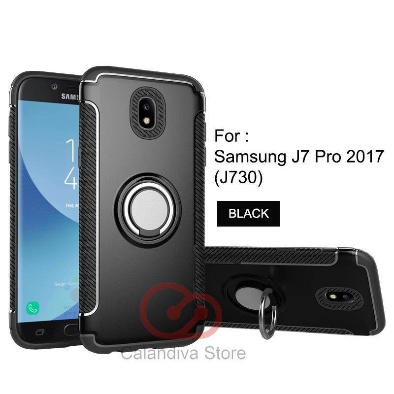 Toko Calandiva Ring Carbon Kickstand Hybrid Premium Quality Grade A Case For Samsung Galaxy J7 Pro 2017 J730 Terdekat