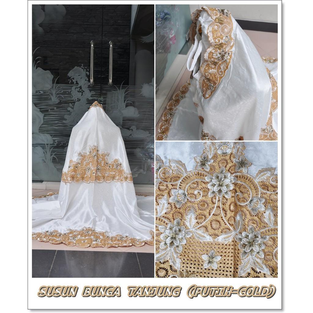 GROSIR MUKENA BORDIR TASIK SUSUN BUNGA TANJUNG/PUTIH GOLD/COKSU P GOLD 2