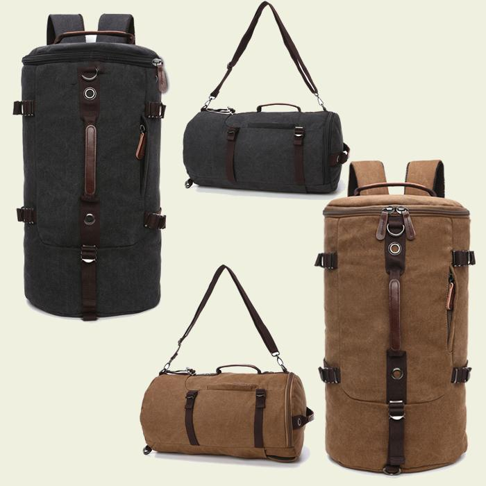 Tas Canvas Ransel Backpack Punggung Selempang 2 in 1 Bulat Barrel Mountaineering - 3