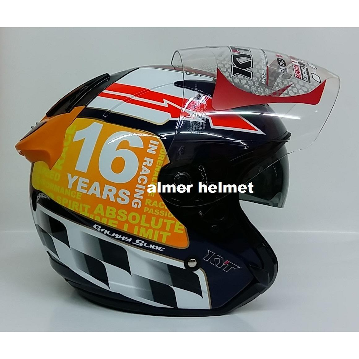 Jual Kyt Galaxy Laguna Seca Helm Half Face Red Fluo Satu Set