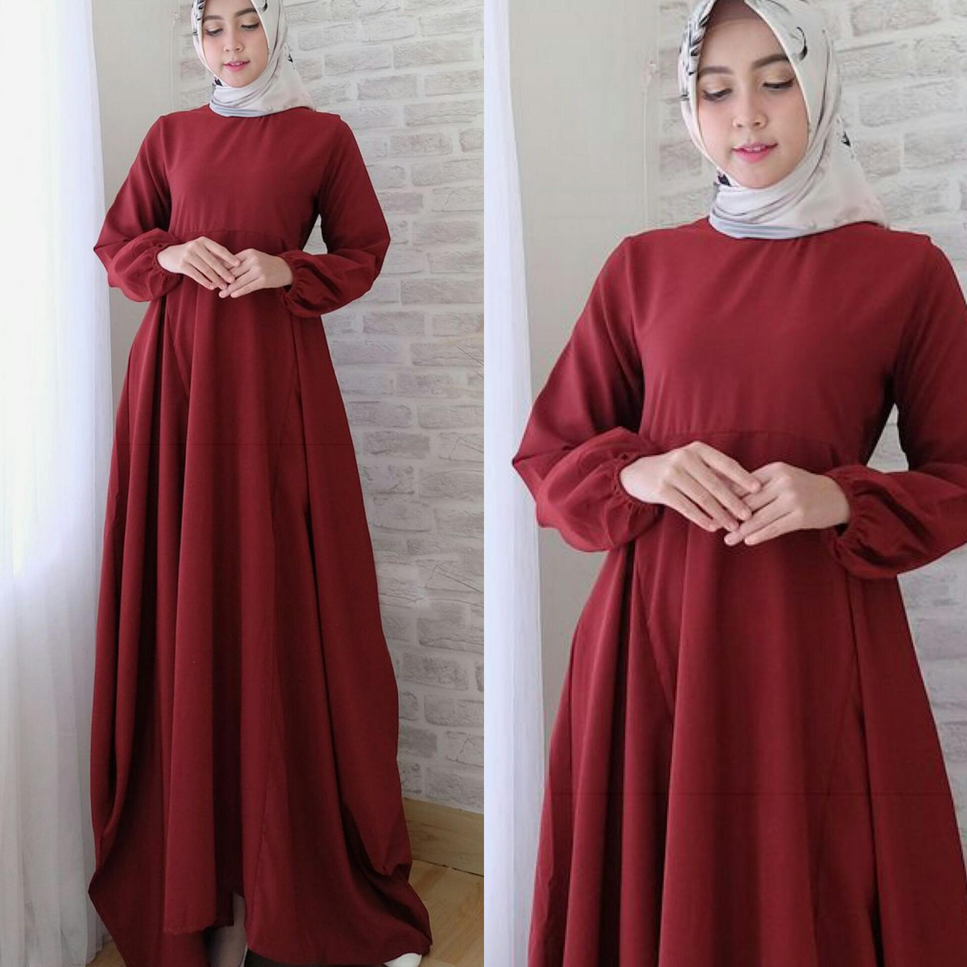 Promo Toko Snowshop Fashion Muslim Gamis Syari Camilace Merah Maroon