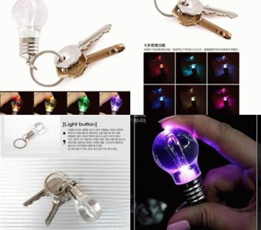 Features Gantungan Kunci Key Ring Bohlam Mini Dengan Lampu Led Warna Holder Tempat 3